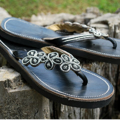 black daisy beaded sandals