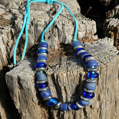 blue powder glass beaded necklace
