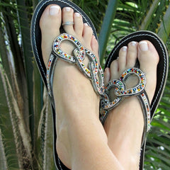 handcrafted womens beaded sandals fair trade