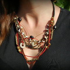 giraffe multi strand mix necklace