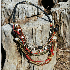 multi leather strand mix necklace