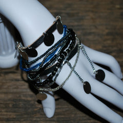 kili recycled aluminum and glass bead bracelet black and turquoise