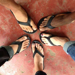 circle of recycled tire sandals