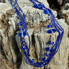 royal blue recycled glass beaded necklace