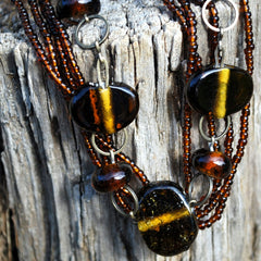 recycled brown glass beaded multi strand necklace