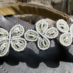 handbeaded sandals white daisy
