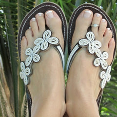 handcrafted beaded leather sandals women