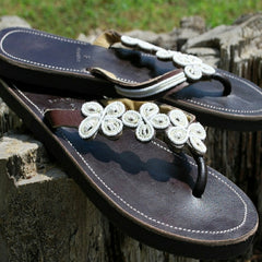 white daisy beaded sandals