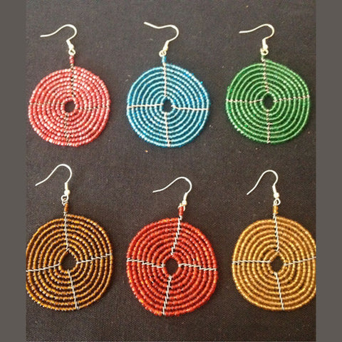 Handcrafted Maasai Beaded Disk Earrings