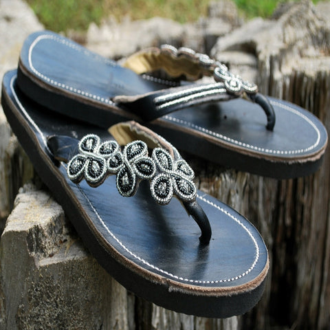 black daisy handmade leather sandals womens
