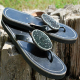 black pearl beaded leather sandals