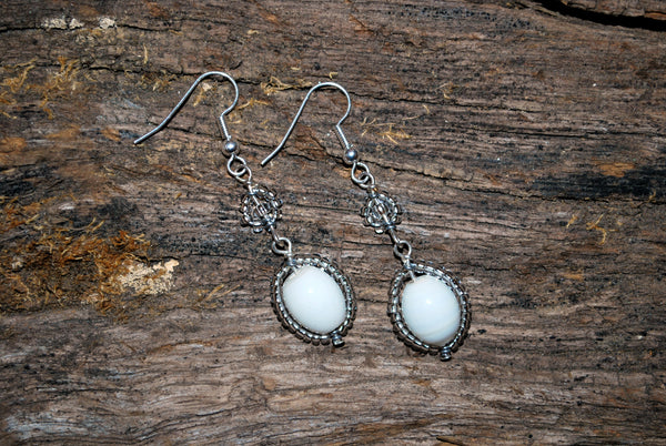 white and clear beaded earrings