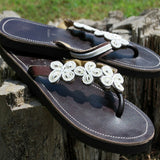 white daisy handbeaded leather sandals womens