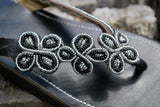 Handcrafted Women's Beaded Leather Sandals - Black Daisy