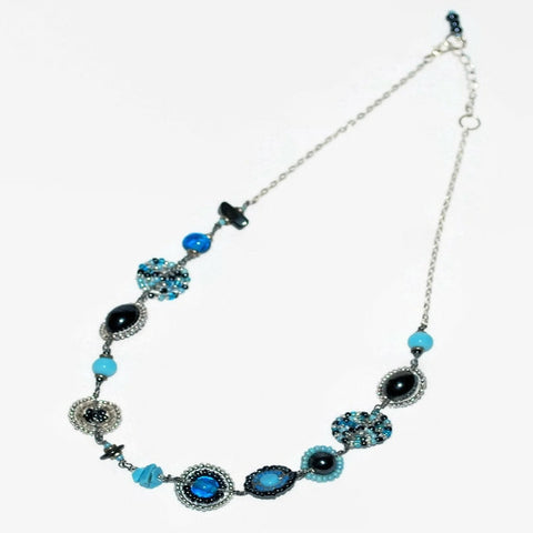 blue and gunmetal bush bead necklace handcrafted africa fair trade