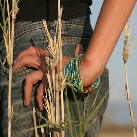 multistrands of zulugrass bracelet natural dyes