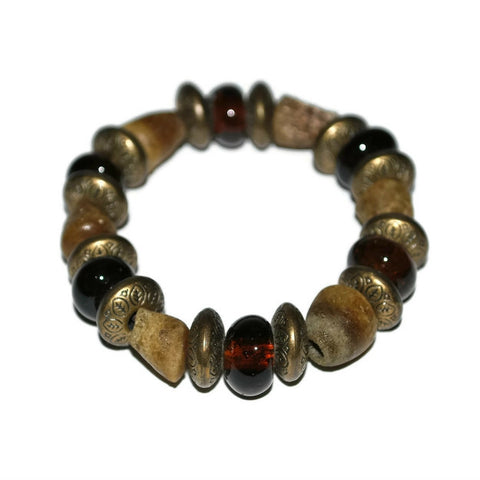 brown glass beaded bracelet chunky
