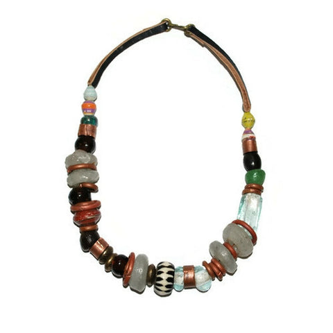 buffalo glass bead mix chunky necklace