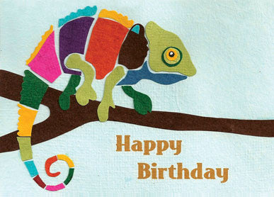 Handmade Greeting Cards - Chameleon Birthday