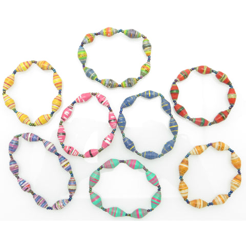 Handcrafted Paper Bead Child's Bracelet - Bright Strips And Patterns