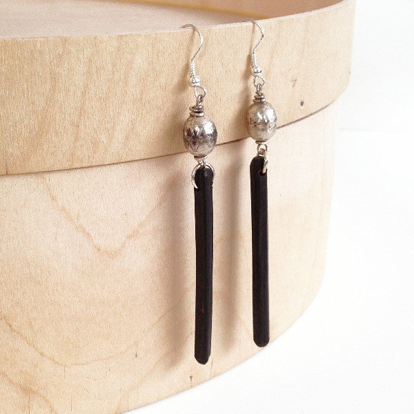 african black driftwood earrings silver bead