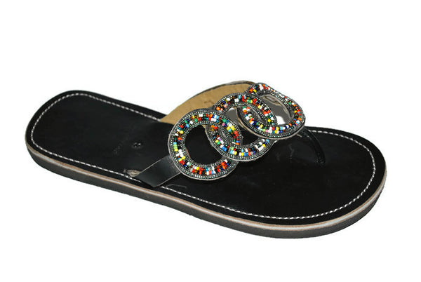 womens handmade leather beaded sandals africa fair trade
