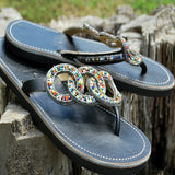 friendship circle multi color seed beads leather sandals