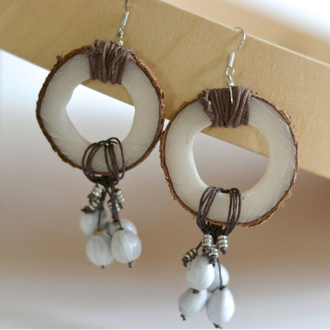 Handcrafted African Malaika Tagua Earrings - Fringe