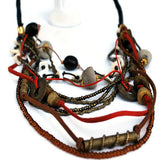 mix bead and findings leather strand necklace
