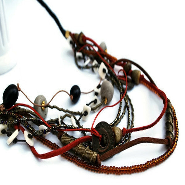 multi leather strand mix bead necklace