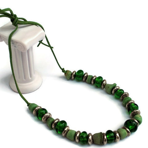 green recycled glass and powdered beads necklace