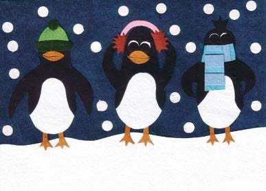 Handmade Greeting Cards - Holiday Penguins