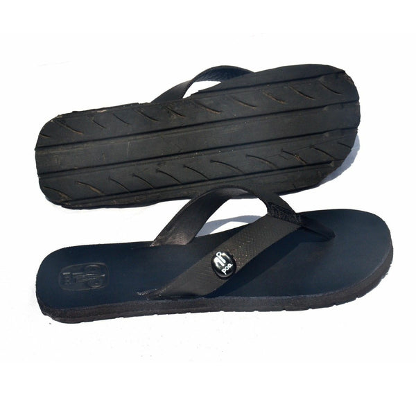 Handcrafted Men's Black Leather Recycled Tire Sandals