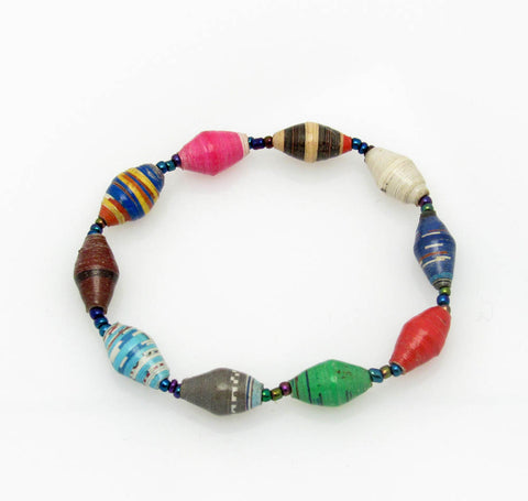 Handcrafted Paper Bead Bracelet - Multi Color