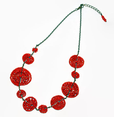 orange bush bead necklace