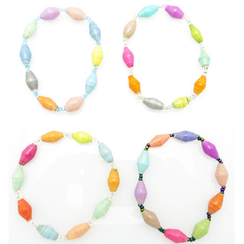 Handcrafted Paper Bead Bracelet - Pastel - Multi Color