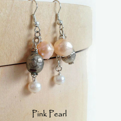 freshwater pearls silver bead earrings trina