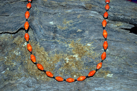 Handcrafted Paper Bead Necklace - Regular - Orange