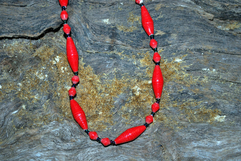 Handcrafted Paper Bead Necklace - Oval - Red