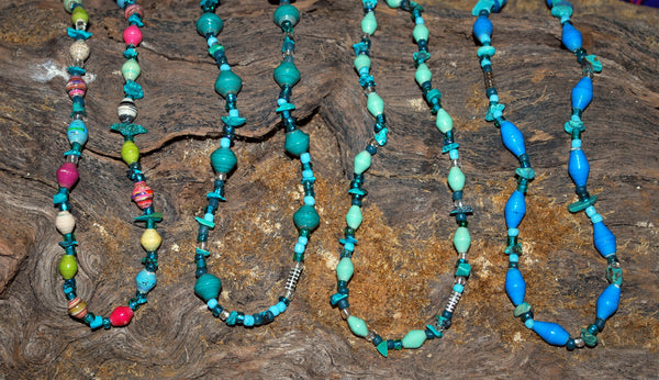 Handcrafted Paper Bead Necklace - Turquoise and Paper Blend