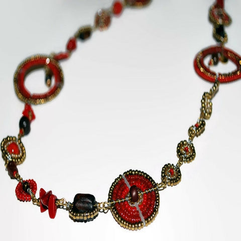 bush bead red antique gold long necklace