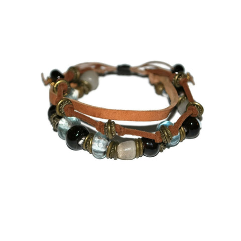 leather strand beaded bracelet