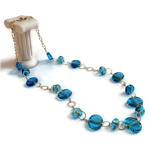 aqua glass beaded necklace