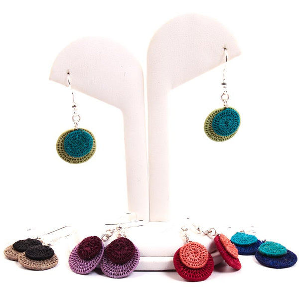 Swazi Sisal Jewelry - Small 2 Disk Eclipsing Earrings - Handcrafted