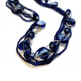 blue glass beaded necklace fair trade