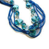 aqua glass beaded handcrafted necklace multi strands