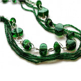 recycled glass beads multi strand necklace