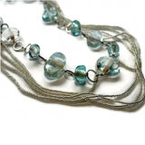 clear recycled glass beaded necklace fair trade