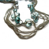 clear glass beaded multi strand necklace