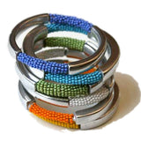 aluminum bracelets wrapped in seed beads recycled